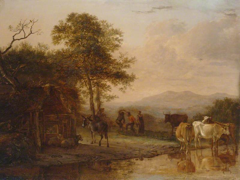 Evening Landscape with Cattle and Peasants Dancing to the Sound of a Pipe, Oil On Panel by Paulus Potter (1625-1654, Netherlands)