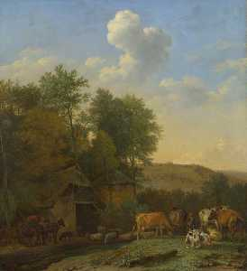 Paulus Potter - A Landscape with Cows, Sheep and Horses by a Barn