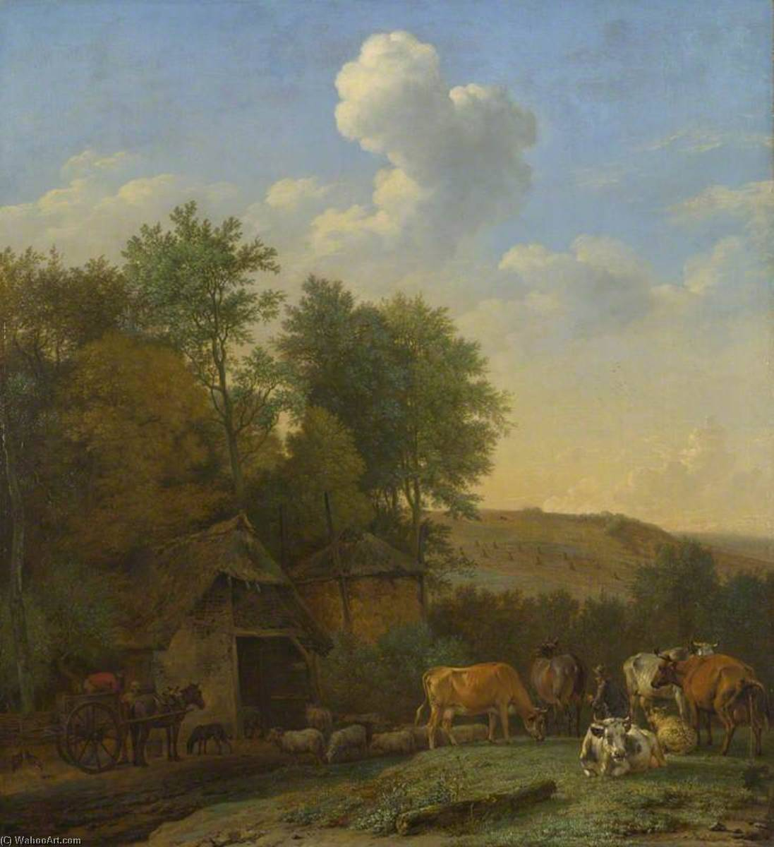 A Landscape with Cows, Sheep and Horses by a Barn, Oil by Paulus Potter (1625-1654, Netherlands)