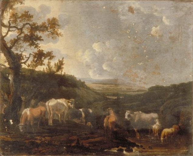 TROUPEAU, Oil by Paulus Potter (1625-1654, Netherlands)
