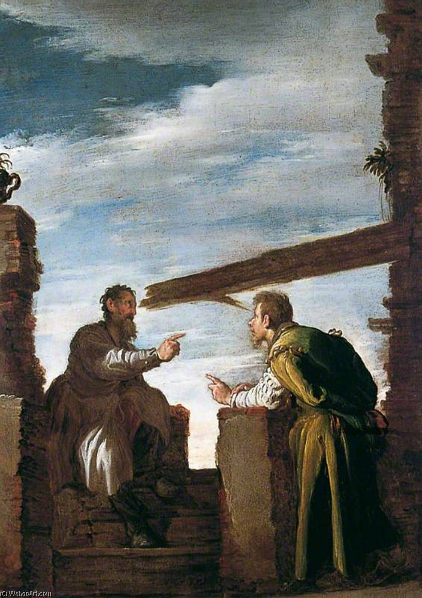 The Parable of the Mote and the Beam, Oil by Domenico Feti (Domenico Fetti) (1589-1623, Italy)