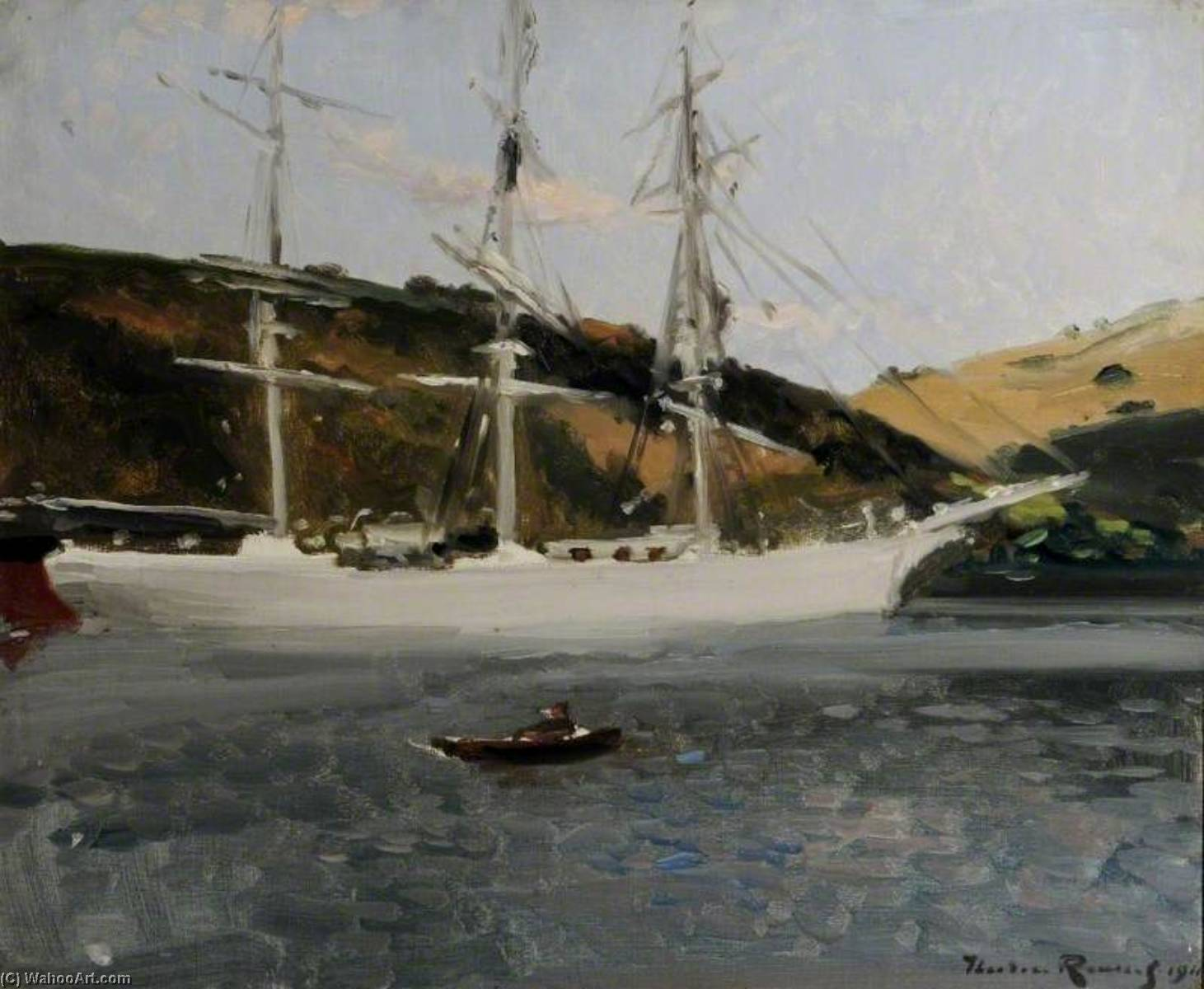 The 'Crecy' at Fowey, Cornwall, Oil On Canvas by Théodore Casimir Roussel (1847-1926, France)