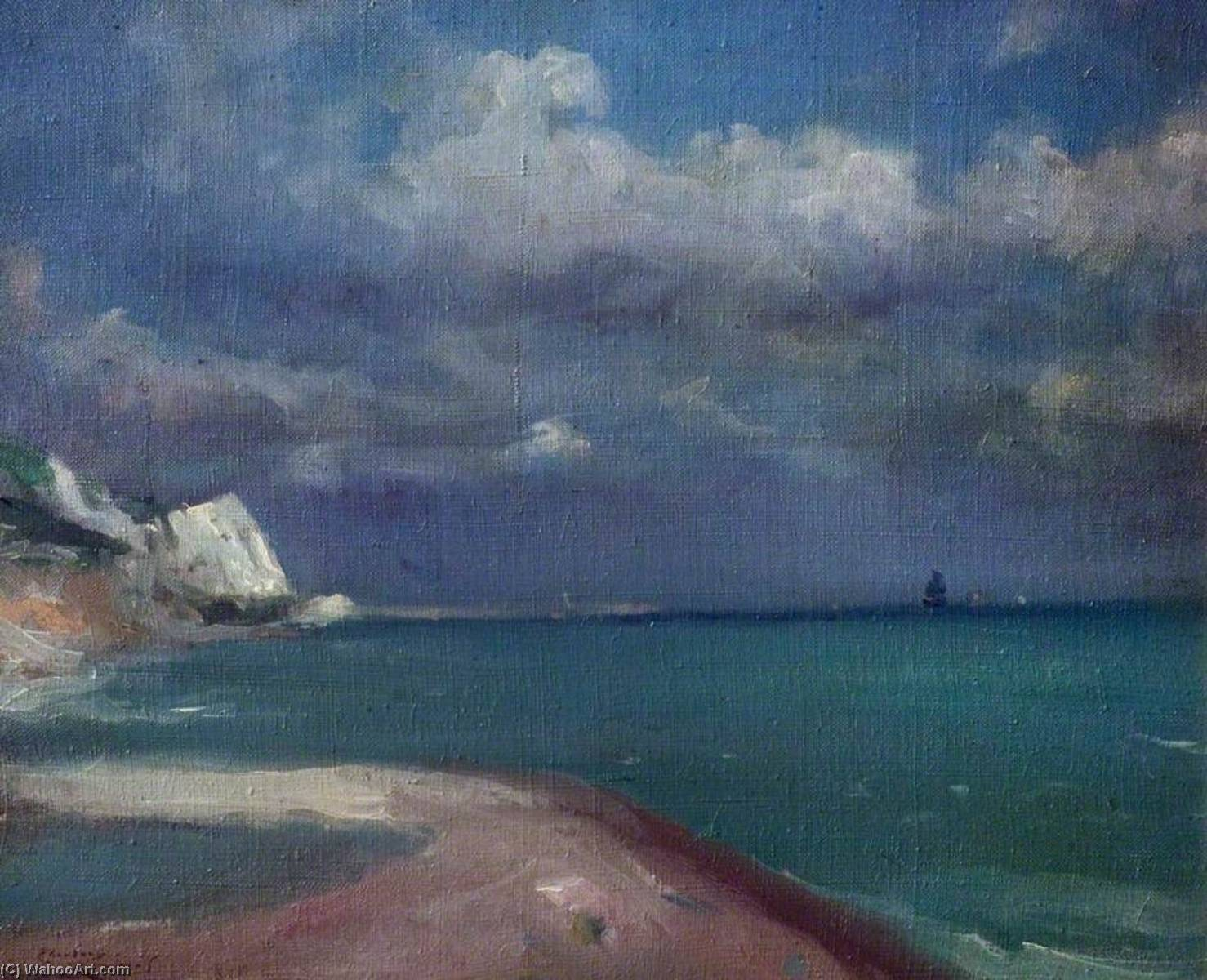 Approaching Storm, Dover, Kent, Oil On Canvas by Théodore Casimir Roussel (1847-1926, France)