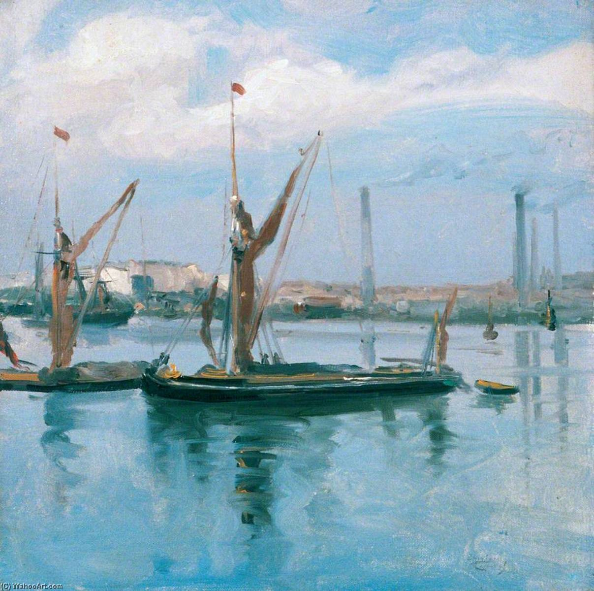 Rochester Harbour, a September Afternoon by Théodore Casimir Roussel (1847-1926, France) | Famous Paintings Reproductions | WahooArt.com