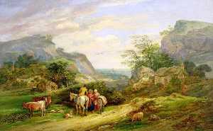 James Leakey - Landscape with Figures and Cattle, Sea in the Distance