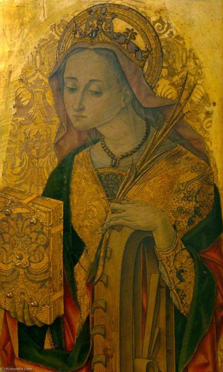 Saint Catherine (panel from an altarpiece), Tempera by Vittore Crivelli (1440-1501, Italy)