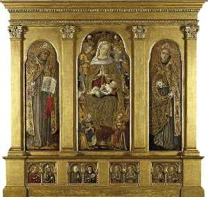 Vittore Crivelli - Virgin and Child Enthroned St Bonaventura (left) St Louis of Toulouse (right) St Agatha and St Augustine, an Unidentified Female Franciscan St and St Clare of Assisi, Four Male Franciscan Saints (below)