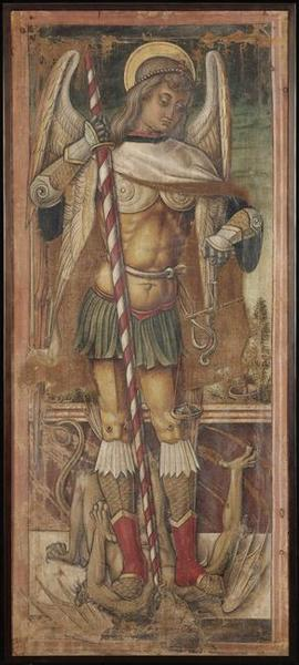 Saint Michel, Oil by Vittore Crivelli (1440-1501, Italy)