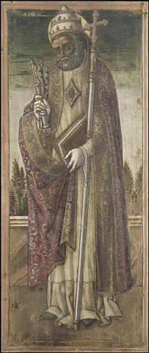 SAINT PIERRE, Oil by Vittore Crivelli (1440-1501, Italy)