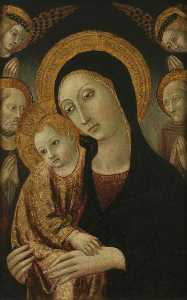 Ansano Di Pietro Di Mencio - The Virgin and Child with Saints Jerome and Bernardin of Siena, and Two Angels Above
