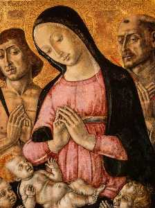 Matteo Di Giovanni - The Virgin and Child with Saint Sebastian, Saint Francis and Angels