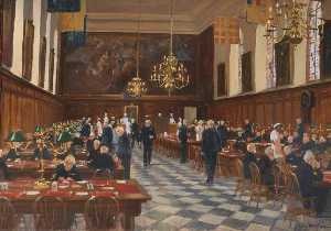 Order Art Reproductions | View of the Great Hall, the Royal Hospital Chelsea, 1990 by Julian Barrow (1939-2013) | WahooArt.com