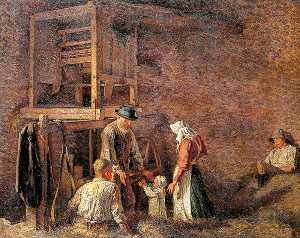 Maxwell Gordon Lightfoot - The Interior of a Barn, with Two Labourers Resting and an Old Man about to Embrace a Child Accompanied by a Woman