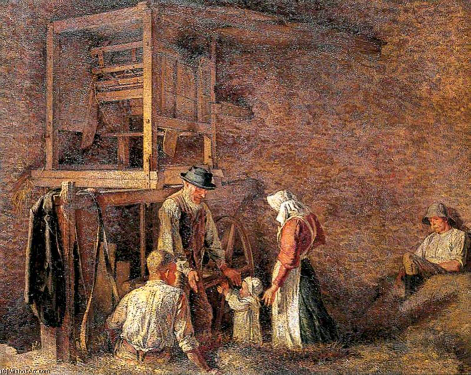 The Interior of a Barn, with Two Labourers Resting and an Old Man about to Embrace a Child Accompanied by a Woman, 1909 by Maxwell Gordon Lightfoot (1886-1911) | Famous Paintings Reproductions | WahooArt.com