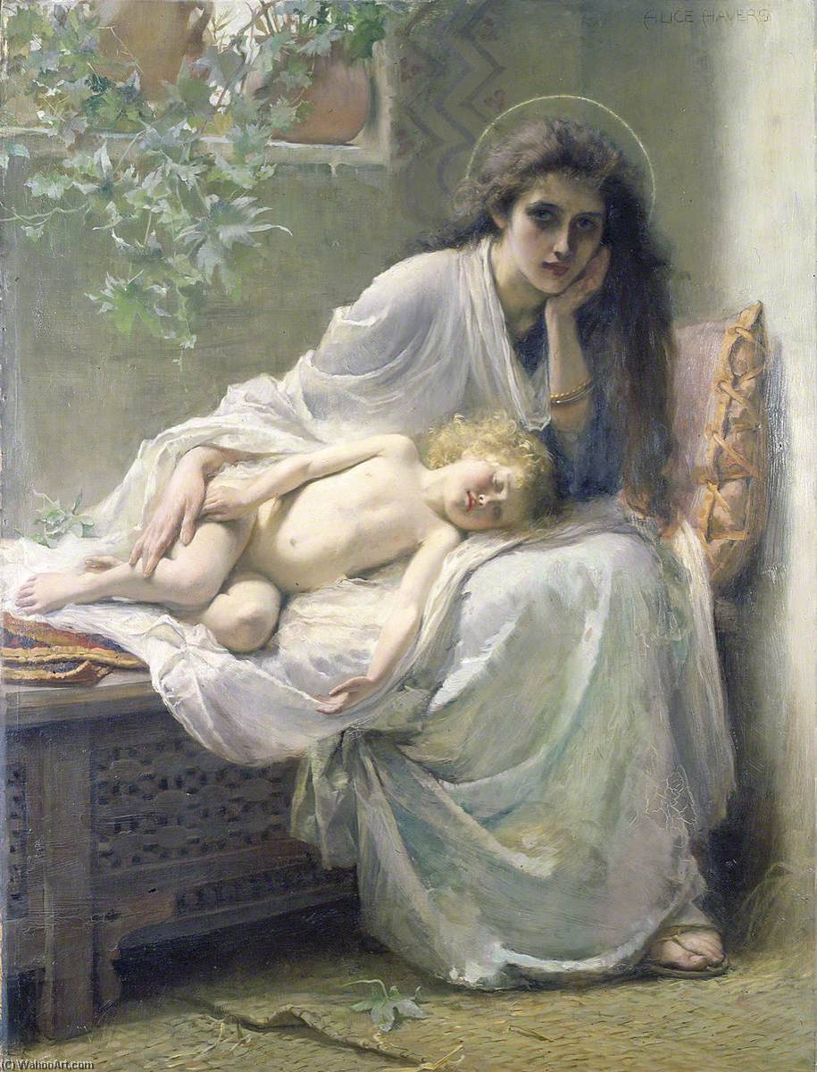 `But Mary kept all these things and pondered them in her heart`, 1888 by Alice Mary Havers | Museum Art Reproductions Alice Mary Havers | WahooArt.com