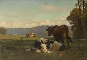 Auguste François Bonheur - Cattle on Riverbank in Auvergne