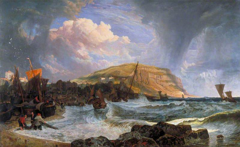 Hastings Boats Making the Shore in a Breeze, Oil On Canvas by John James Chalon (1778-1854)