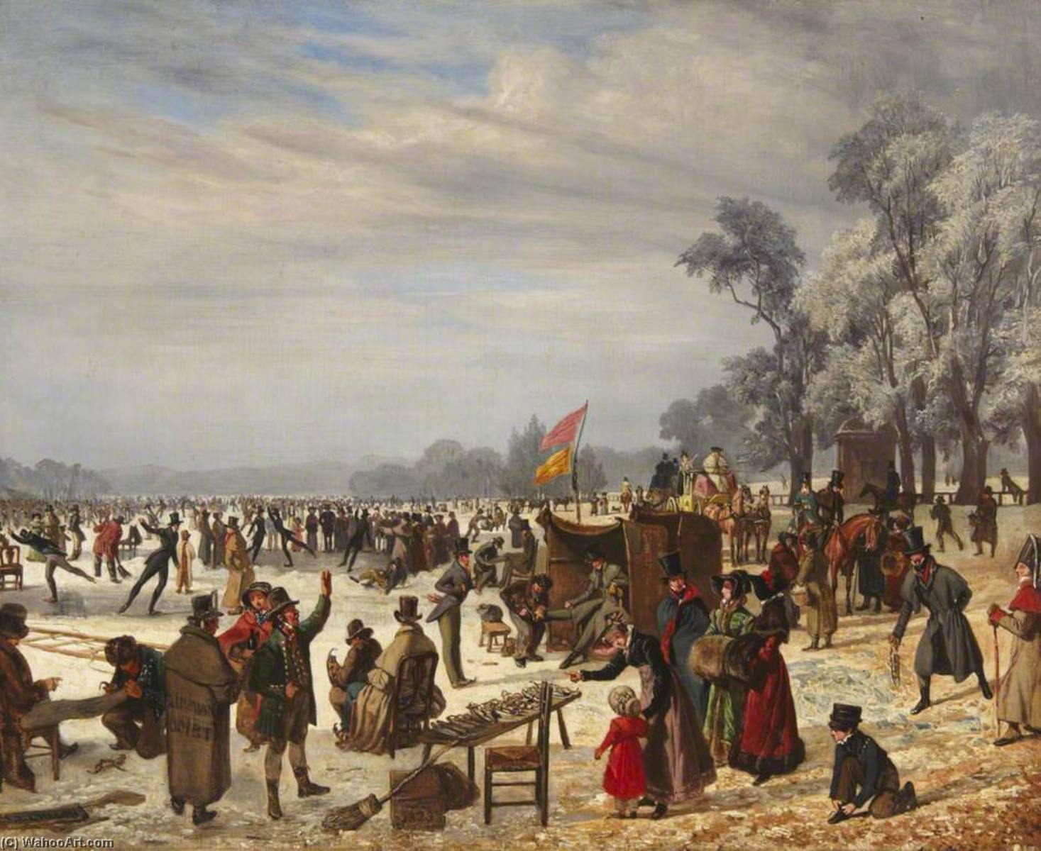 Serpentine, Hyde Park, during the Late Frost, 1823 by John James Chalon (1778-1854) | WahooArt.com