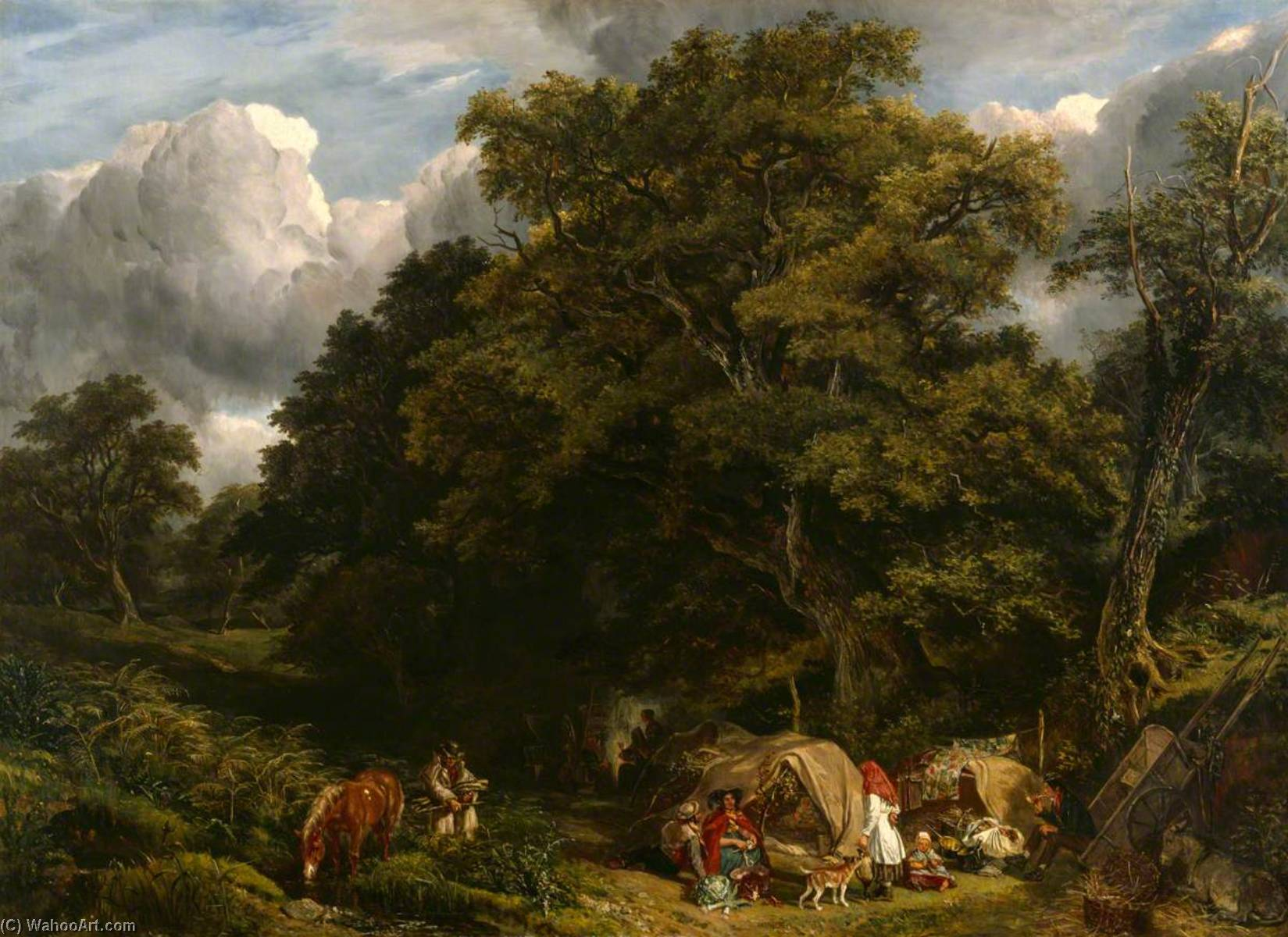 A Gipsy Encampment, 1840 by John James Chalon (1778-1854) | Museum Quality Reproductions | WahooArt.com