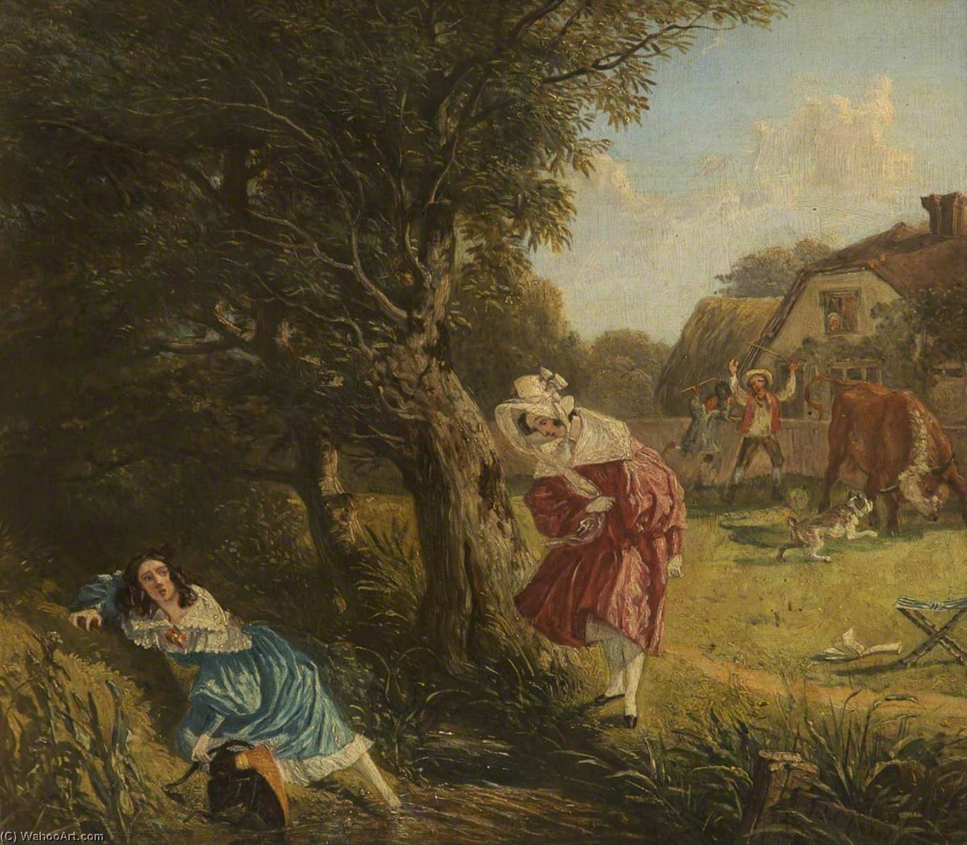 Look before You Leap, Oil by John James Chalon (1778-1854)