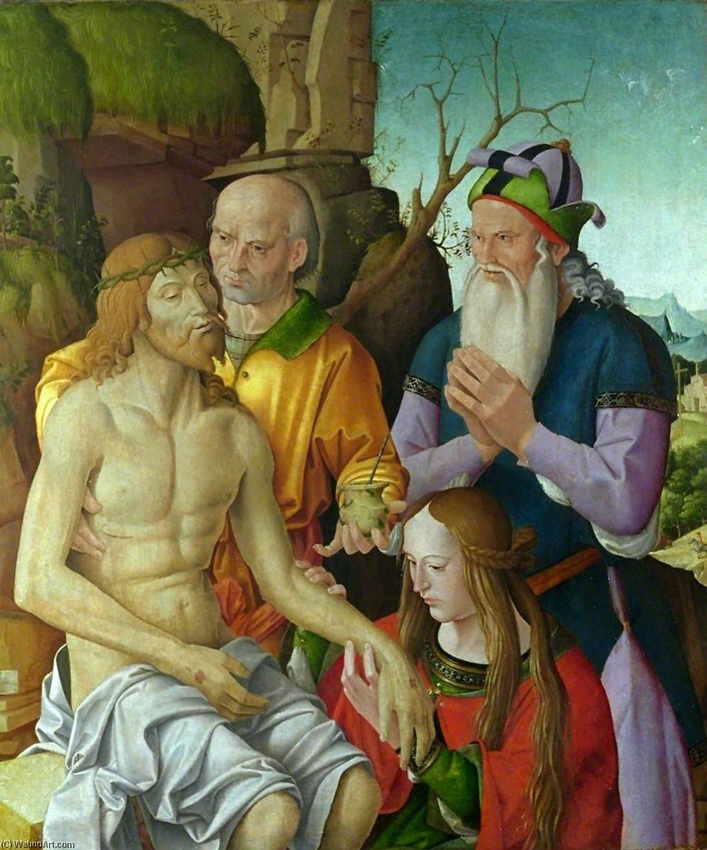 Lamentation over the Dead Christ, Tempera by Marco Palmezzano (1460-1539, Italy)