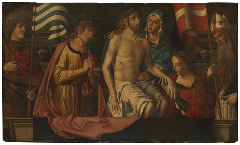 The Dead Christ in the Tomb, with the Virgin Mary and Saints, Oil by Marco Palmezzano (1460-1539, Italy)