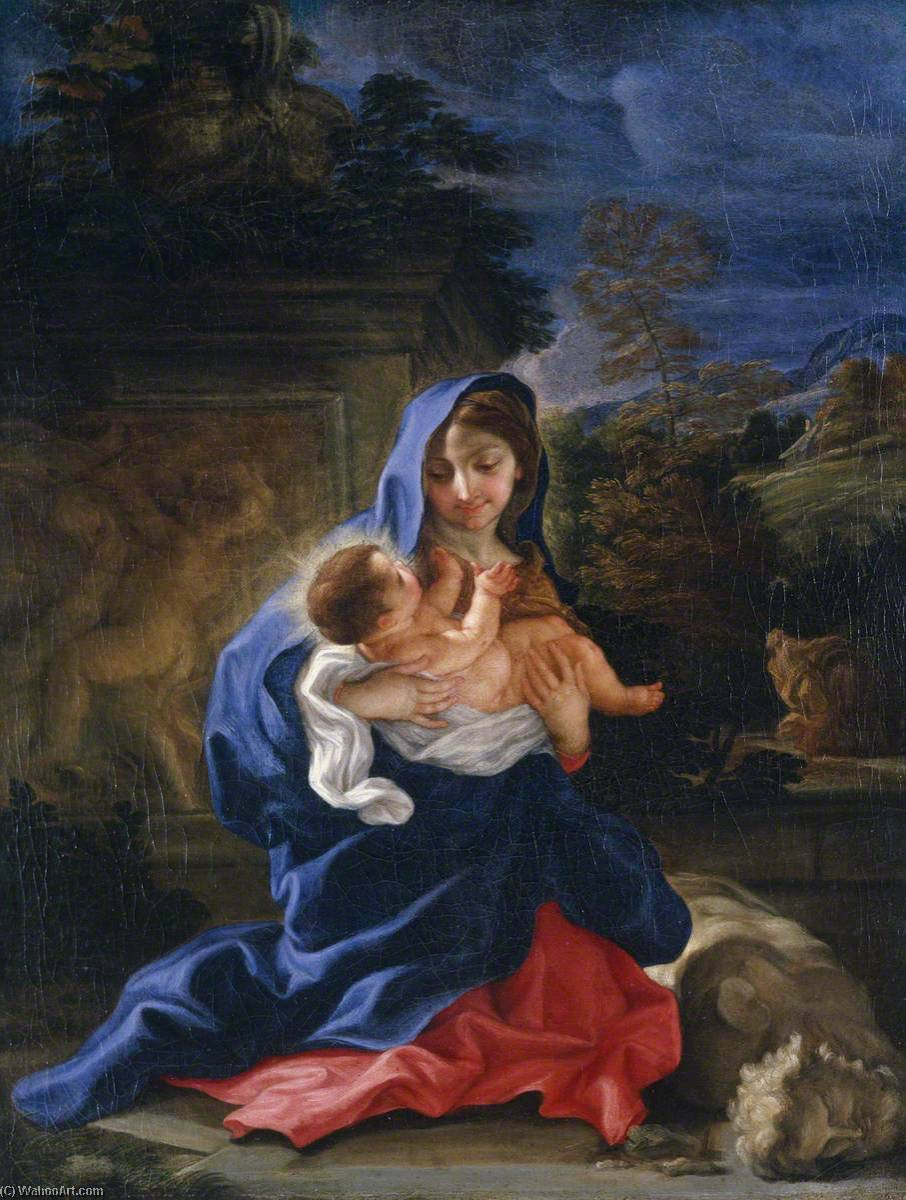 Order Reproductions | The Rest on the Flight into Egypt, 1700 by Giovanni Battista Gaulli (Baciccio) (1639-1709) | WahooArt.com
