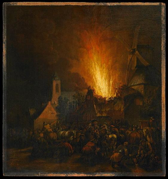 Incendie de village by Egbert Van Der Poel (1621-1664, Netherlands) | WahooArt.com