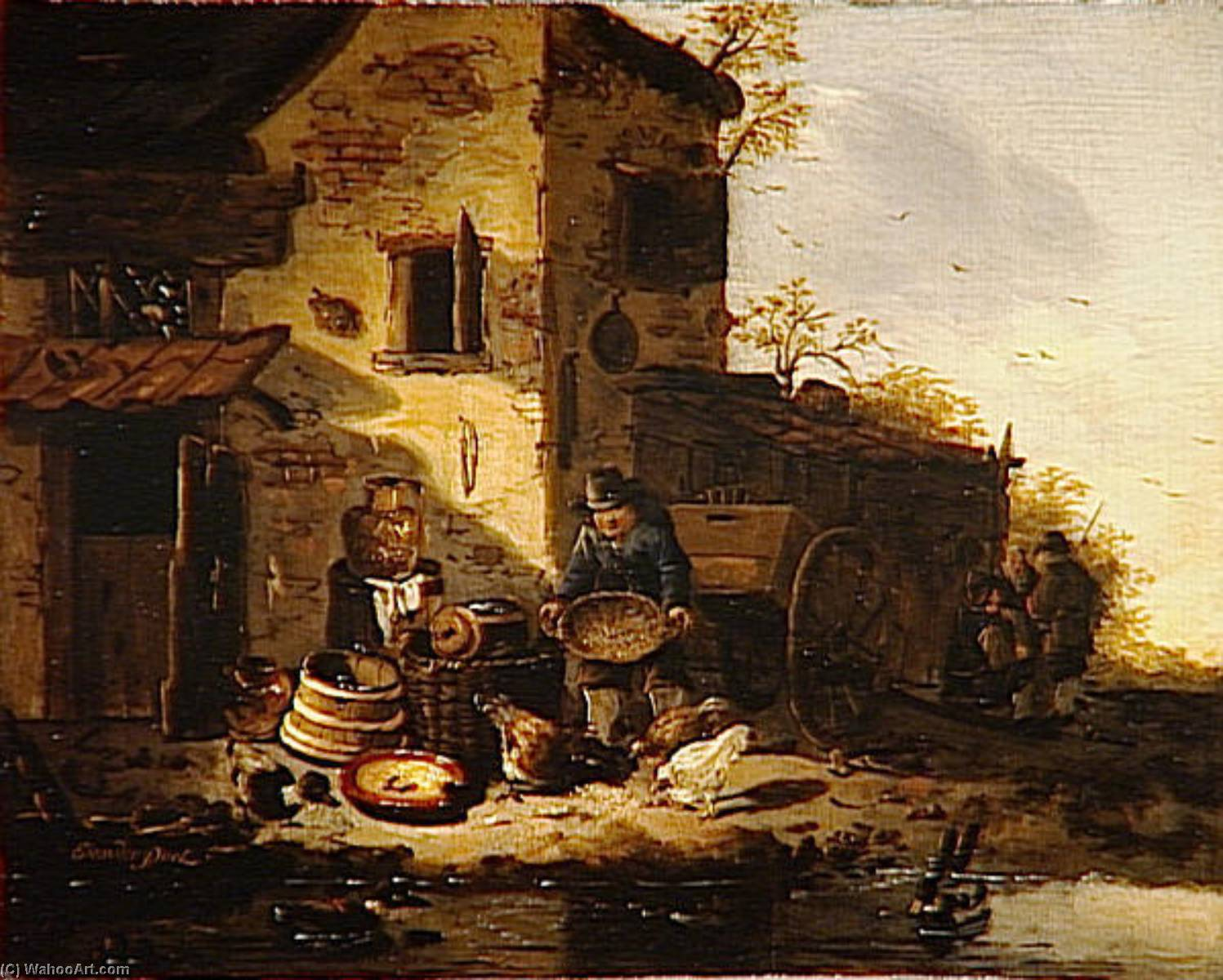 PAYSAN DONNANT A MANGER A DES POULES by Egbert Van Der Poel (1621-1664, Netherlands) | Painting Copy | WahooArt.com