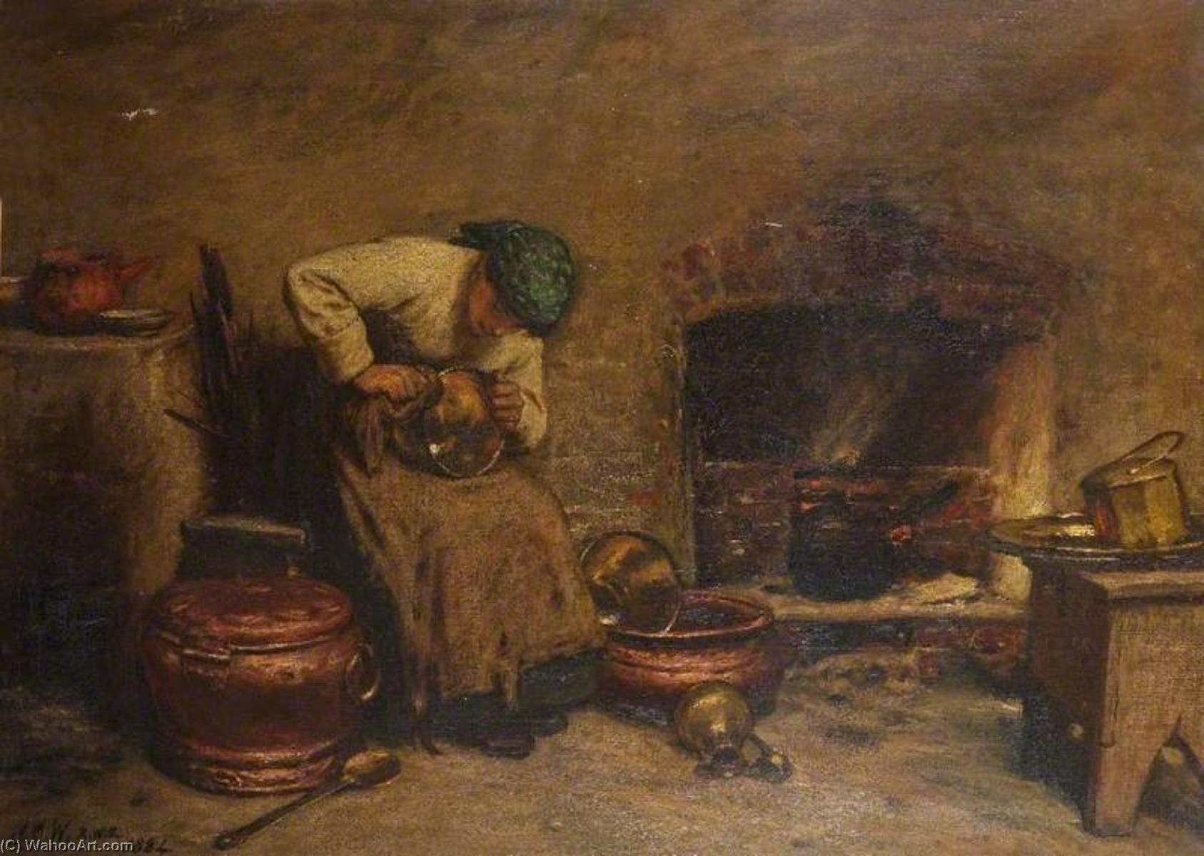 Cleaning Day, 1884 by John Dawson Watson | Painting Copy | WahooArt.com