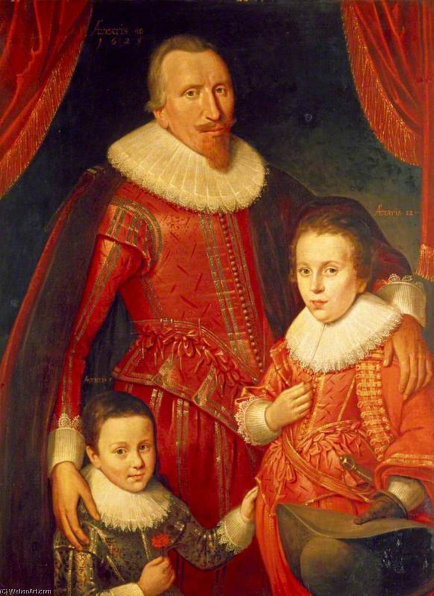 George Seton (1584–1650), 8th Lord Seton and 3rd Earl of Winton, Royalist, with his Sons, George (1613–1648), Lord Seton, and Alexander (1620–1691), 1st Viscount Kingston, Royalists, Oil On Canvas by Adam De Colone