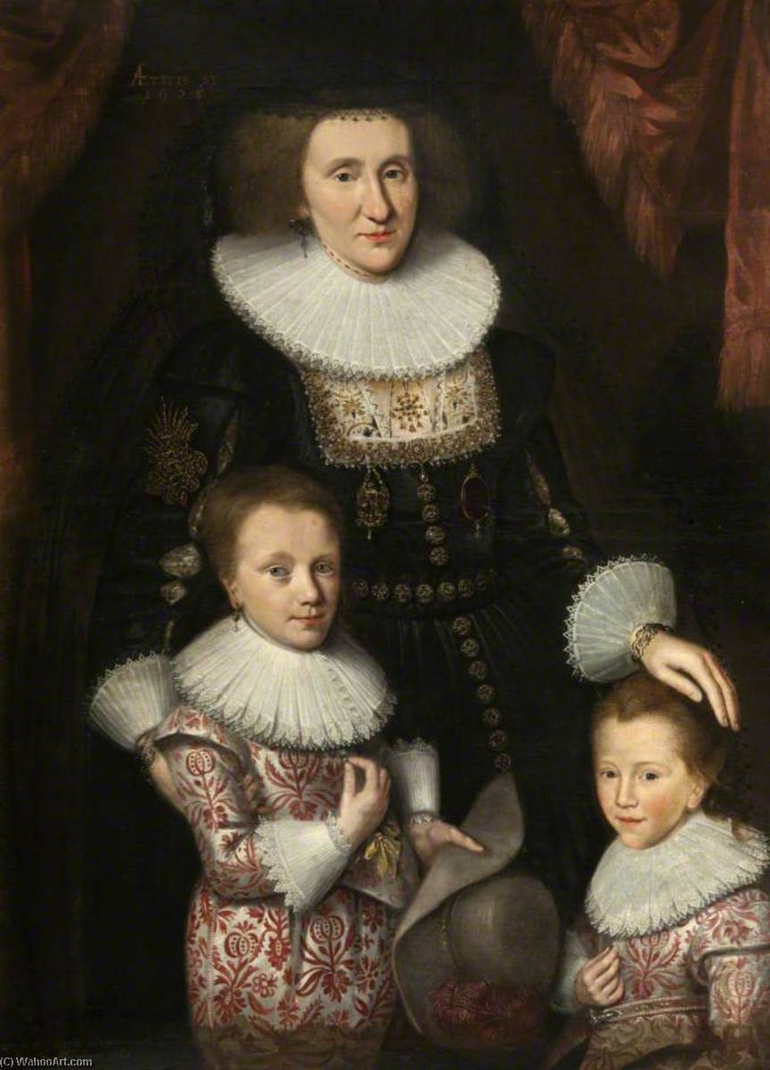 Jean, Countess of Perth, with Her Two Sons (after George Jamesone), 1765 by Adam De Colone | Famous Paintings Reproductions | WahooArt.com