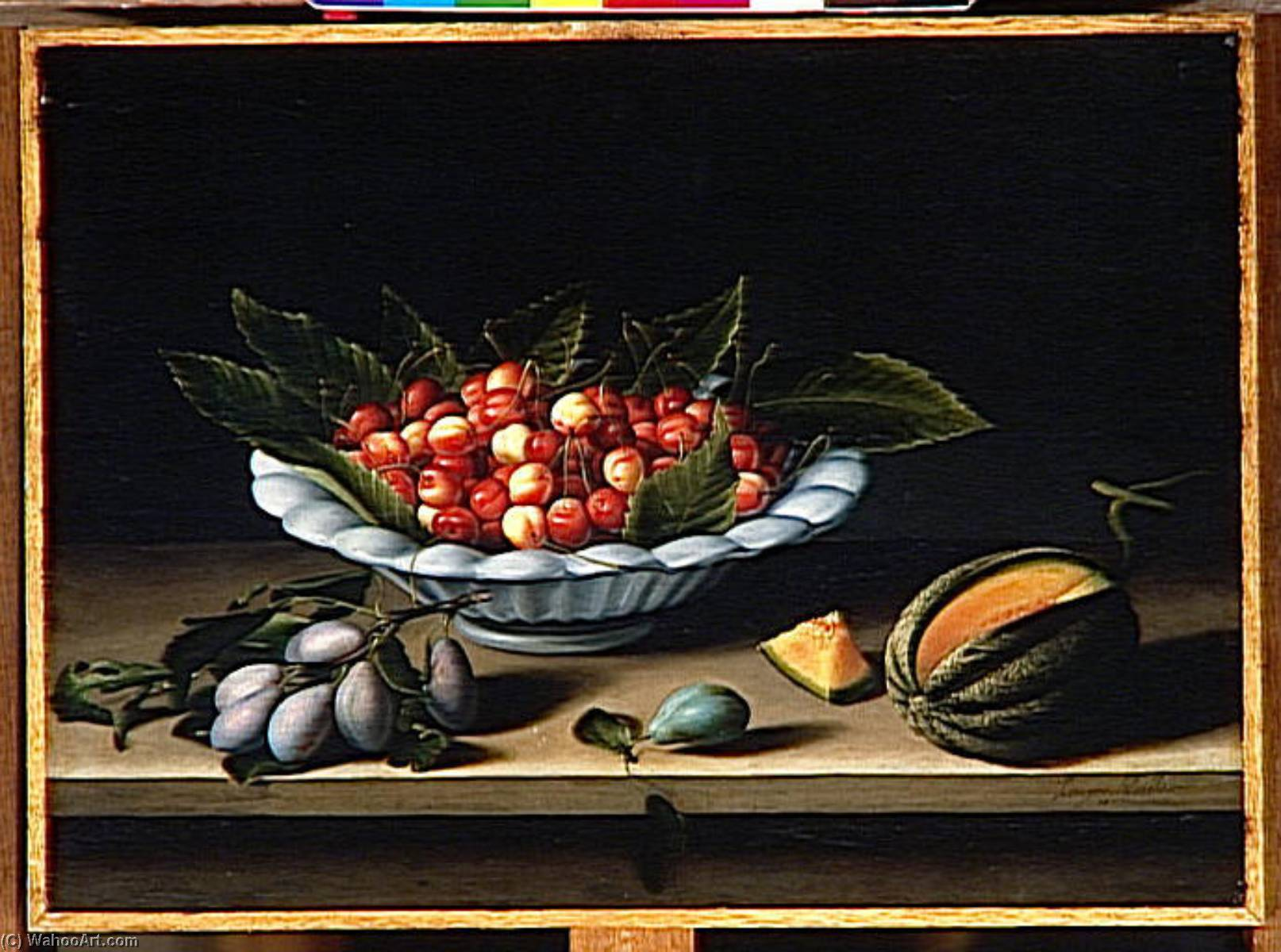 COUPE DE CERISES, PRUNES ET MELON by Louise Moillon (1610-1696, France) | Art Reproduction | WahooArt.com