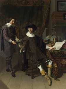 Thomas De Keyser - Portrait of Constantijn Huygens and his ( ) Clerk