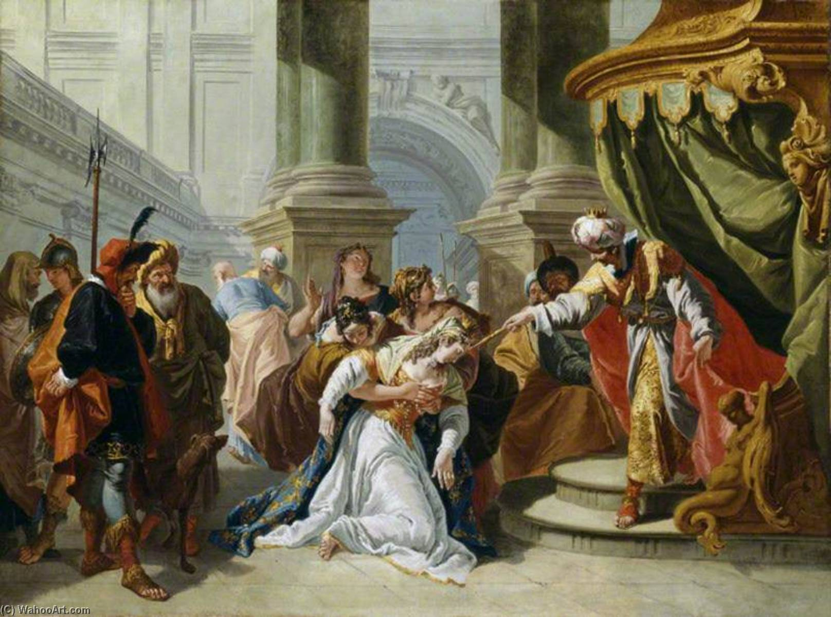 Esther Fainting before King Ahasuerus, Oil On Canvas by Francesco Fontebasso (1707-1769, Italy)
