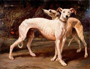Louis Godefroy Jadin - Two Greyhounds