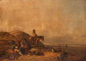 Charles Louis Mozin - Shore Scene with Figures