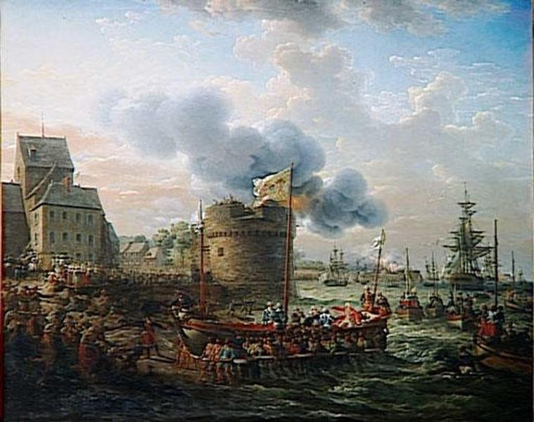 LOUIS XVI VISITE LE PORT DE CHERBOURG.23 JUIN 1786, Oil by Louis Philippe Crepin (1772-1851)