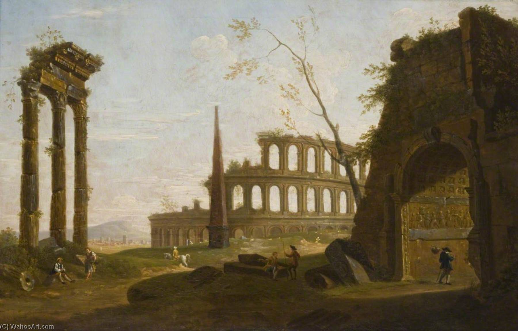 Roman Capriccio, Oil On Canvas by John Inigo Richards