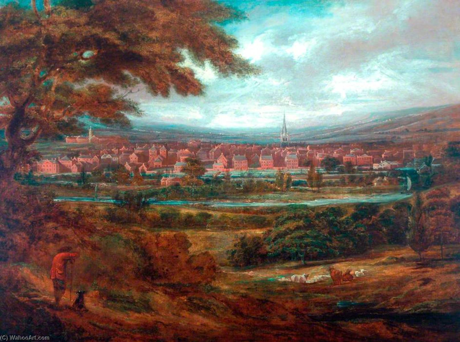 View of Wakefield, Oil On Canvas by John Inigo Richards