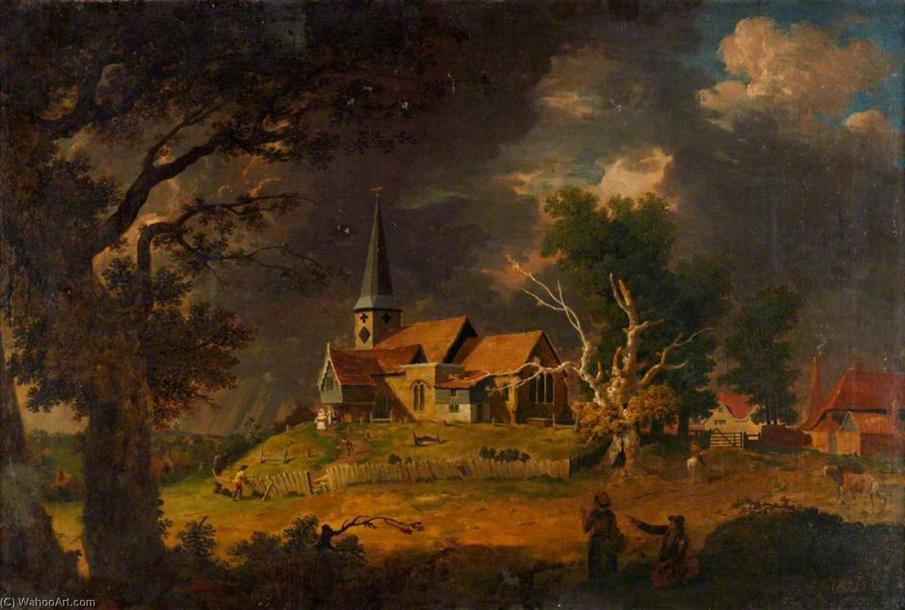 St Mary Cray Church, Kent, a Christening, Oil On Canvas by John Inigo Richards