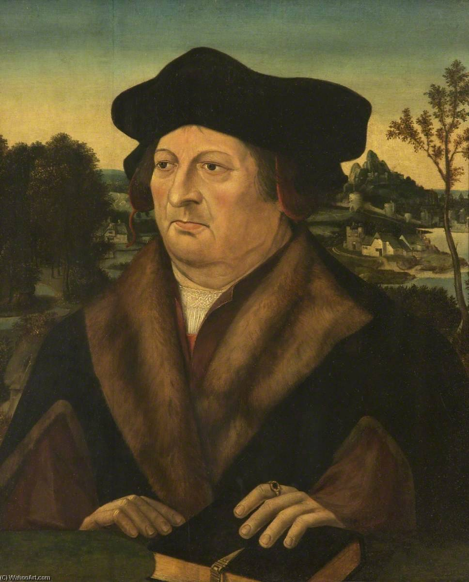 Portrait of a Gentleman in a Landscape by Joos Van Cleve (1485-1540, Germany) | Art Reproduction | WahooArt.com
