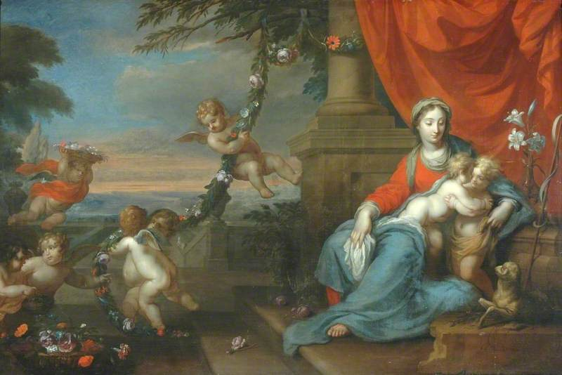Virgin, Child and St John, Oil On Canvas by Herman Verelst (1641-1702)