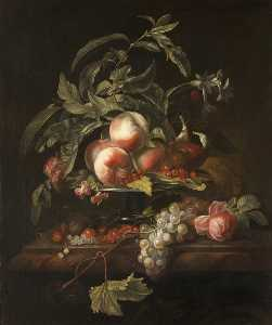 Herman Verelst - Peaches, Grapes and Redcurrants on a Ledge