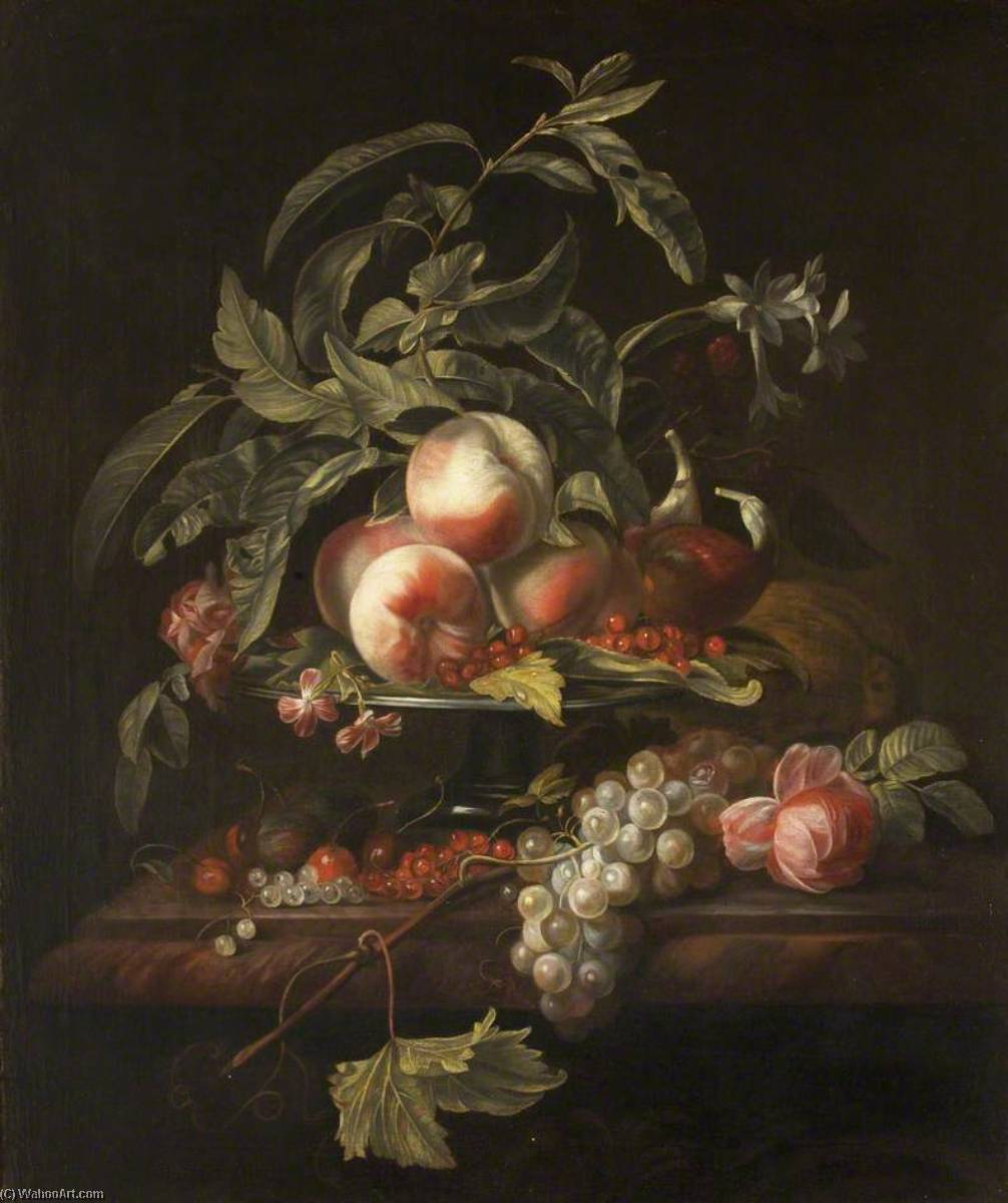 Peaches, Grapes and Redcurrants on a Ledge, Oil On Canvas by Herman Verelst (1641-1702)