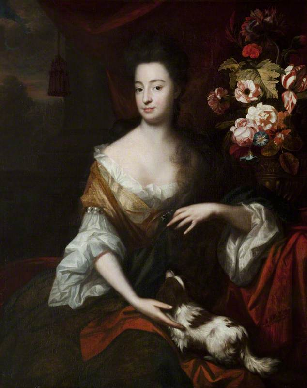 Portrait of a Lady with a Dog, 1689 by Herman Verelst (1641-1702) | Paintings Reproductions Herman Verelst | WahooArt.com