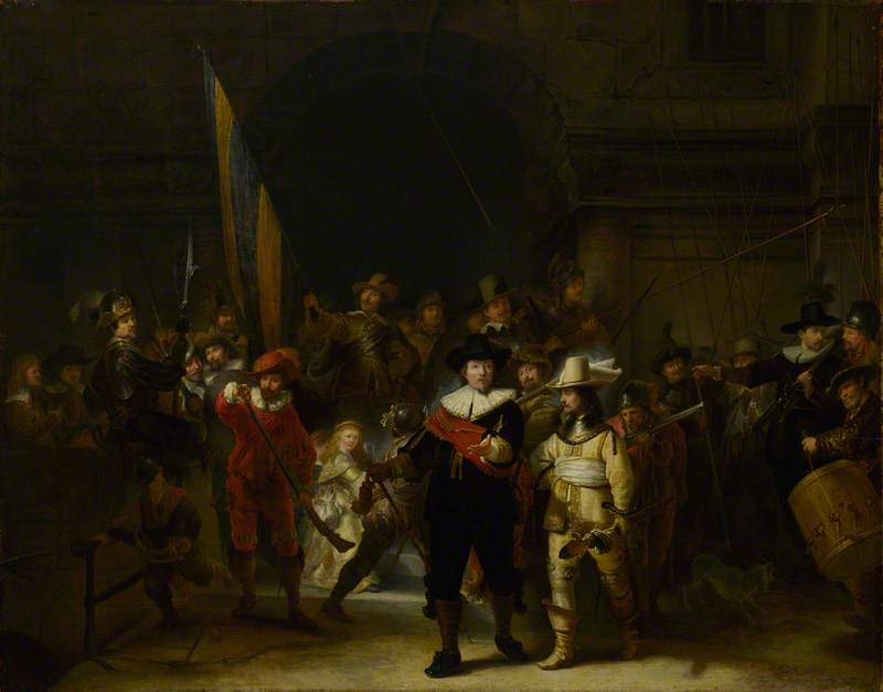 The Company of Captain Banning Cocq and Lieutenant Willem van Ruytenburch ('The Nightwatch') (after Rembrandt van Rijn), Oil by Gerrit Lundens (1622-1686)