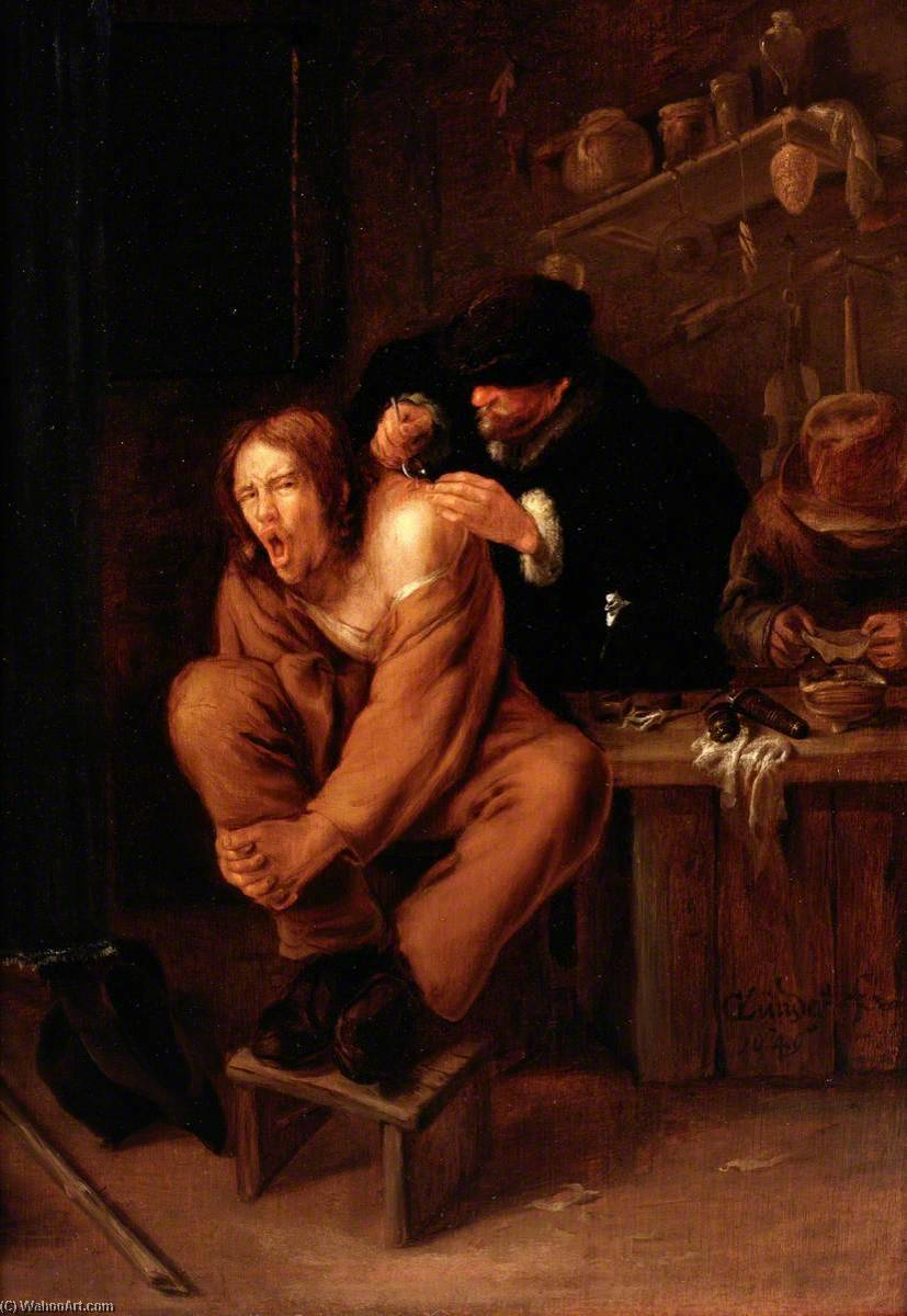 A Surgeon Applying Medicine to a Wound in the Shoulder of a Man in Pain, 1649 by Gerrit Lundens (1622-1686) | Art Reproduction | WahooArt.com