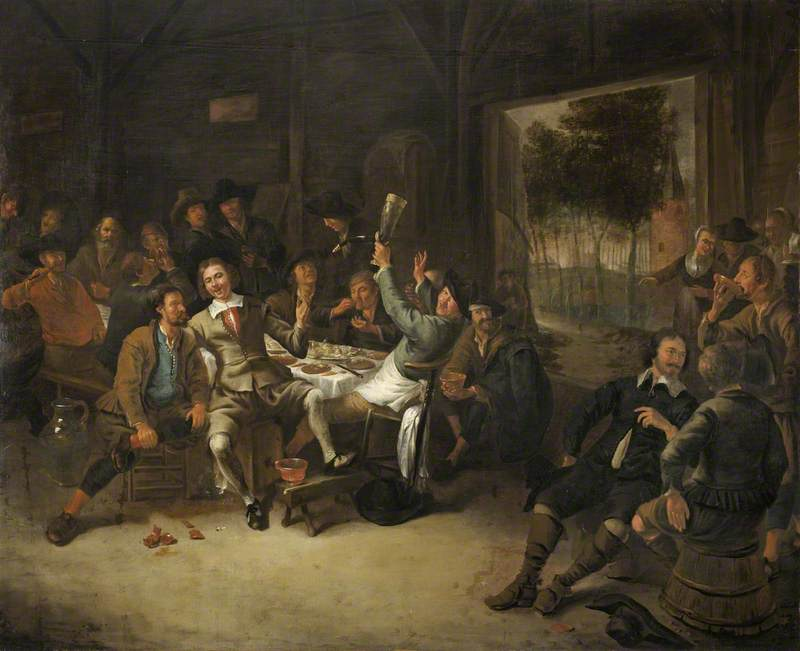 Peasants Feasting in a Barn, 1673 by Gerrit Lundens (1622-1686) | Oil Painting | WahooArt.com