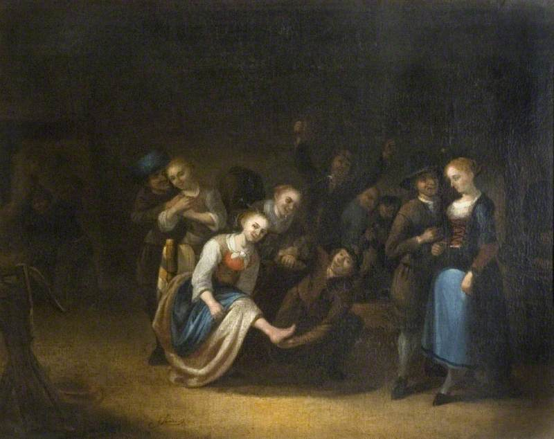 Dutch Company Merrymaking by Gerrit Lundens (1622-1686) | Museum Quality Reproductions | WahooArt.com